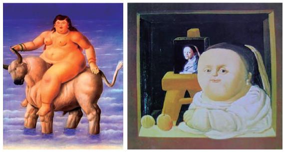 Figura 11. El rapto de Europa (1998) y The Study of Vermeer (1964), de Fernando Botero.